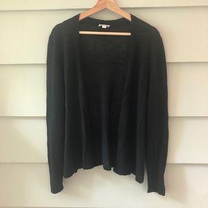 J. JILL Cardigan Sweater Linen Rayon Black PL